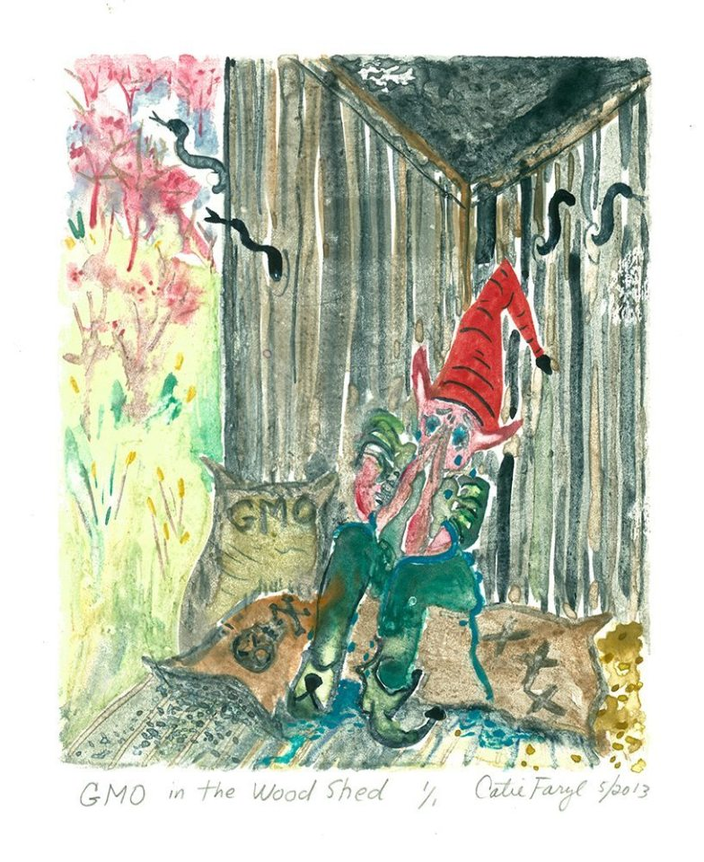 """GMO in the Woodshed, Monotype Print from the """"Don't Shop with G-Nome"""" series by artist Catie Faryl, 2013."""