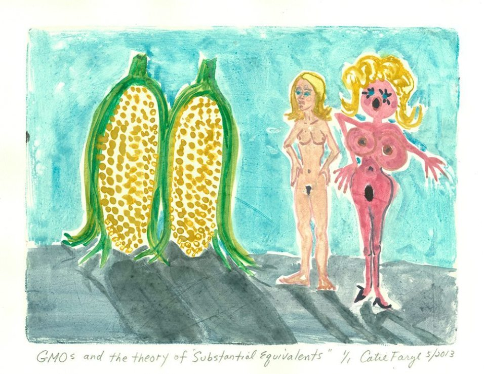 """GMOS and the Theory of Substantial Equivalents, Monotype Print from the """"Don't Shop with G-Nome"""" series by artist Catie Faryl, 2013."""