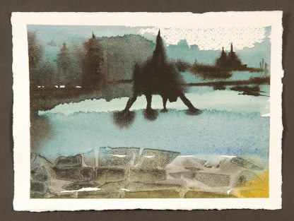 """The Bridge, Monotype Print from the """"The Bridge to 2020"""" series by artist Catie Faryl, 2013."""