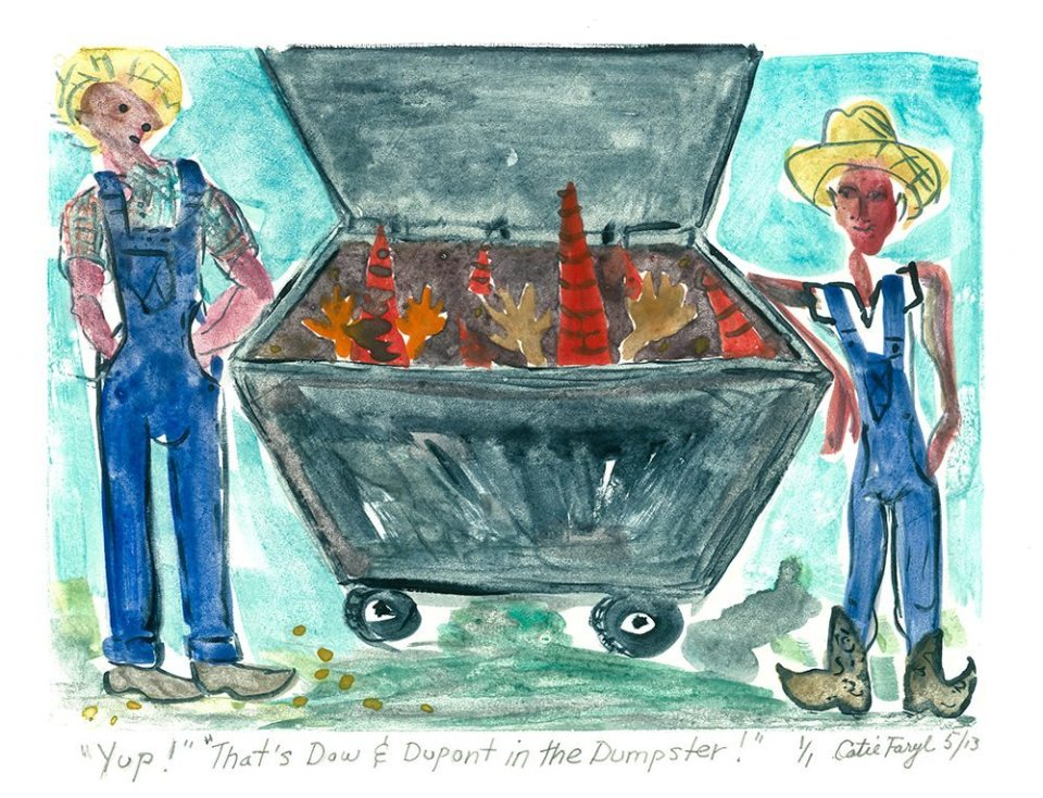 """Yup! That's Dow and duPont in the Dumpster!, Monotype Print from the """"Don't Shop with G-Nome"""" series by artist Catie Faryl, 2013."""