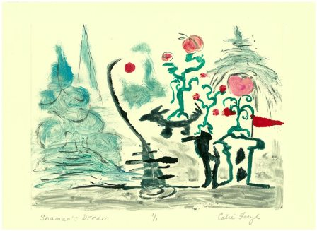 """The Shaman's Dream, Monotype PrintWatercolor / monotype print from the 2011 collection """"the Upward Spiral"""", of the """"Digging Out From The Dirty Decade"""" exhibition series by artist Catie Faryl."""