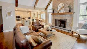 open concept stone fireplace