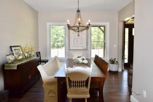 dining room remodel with custom wood