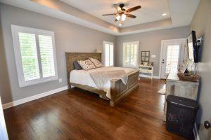 bedroom design, grey neutral wiht outdoor access