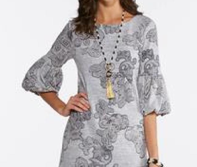 Plus Size Gray Puff Print Swing Dress