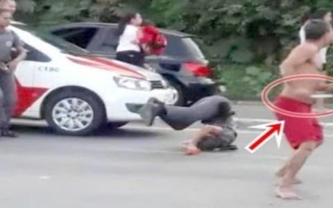 policial e atingida com faca no pescoco agressor e morto a tiros veja o video
