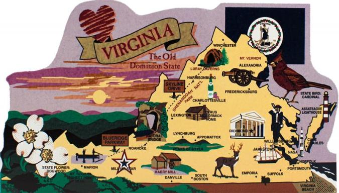 State Map  Virginia   The Cat s Meow Village Add this wooden state map of Virginia to your home decor  handcrafted in  the USA