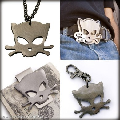 Love Metal  Outlaw Kitty Accessories by Watto   Catster Enter Watto and its everyday street couture accessories including handmade  belt buckles  keychains  and money clips by metal artist Jon  Watto  Watson