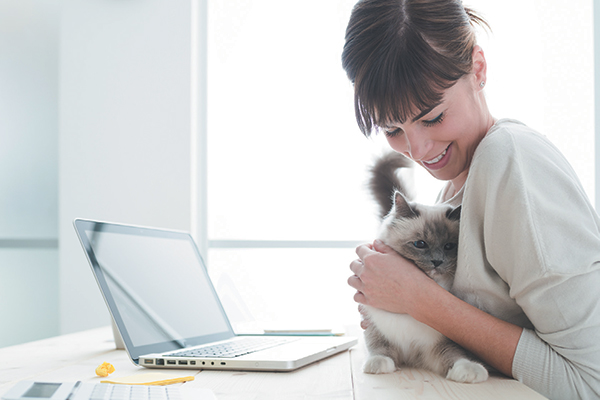 A woman on her computer, hugging a cat.
