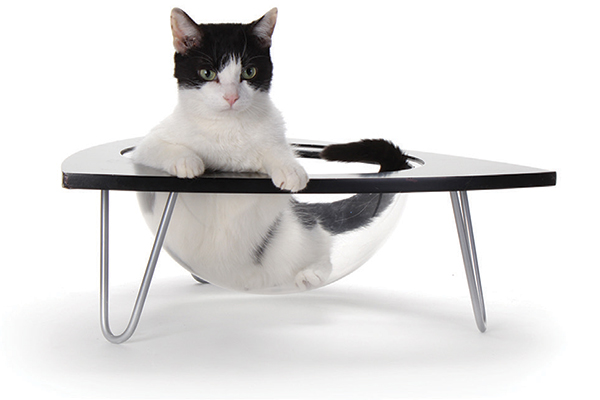 TriPod Cat Lounge from the Hauspanther Collection by Primetime Petz incorporates a clear plastic lounge pod for cats who like to sit in sinks.