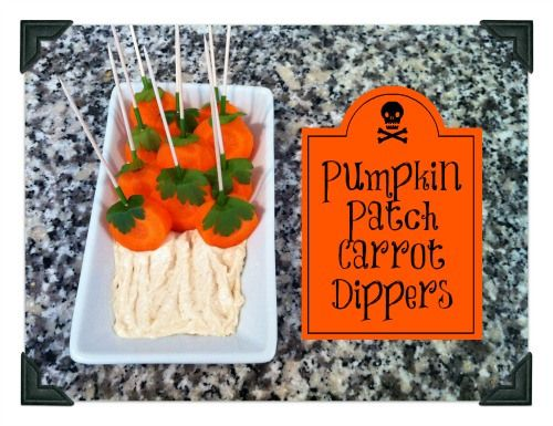 Healthy Halloween Snacks - Pumpkin Patch Carrot Dippers