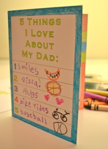 5 things fathers day card