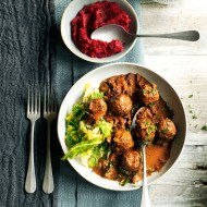 Venison meatballs with wild mushroom and chocolate sauce