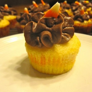 Candy Corn Cupcakes with a Chocolate Buttercream Frosting