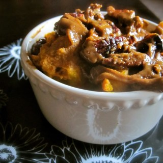 Pumpkin Bread Pudding with a Caramel-Pecan Sauce