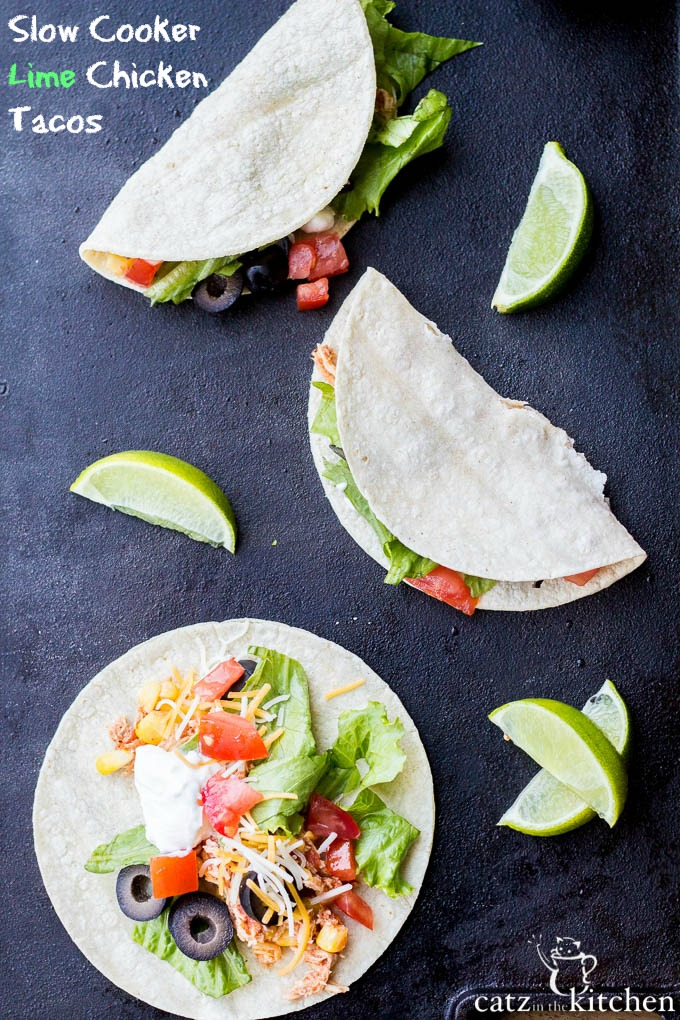 Slow Cooker Lime Chicken Tacos   Catz in the Kitchen   catzinthekitchen.com   #Mexican #slowcooker #tacos