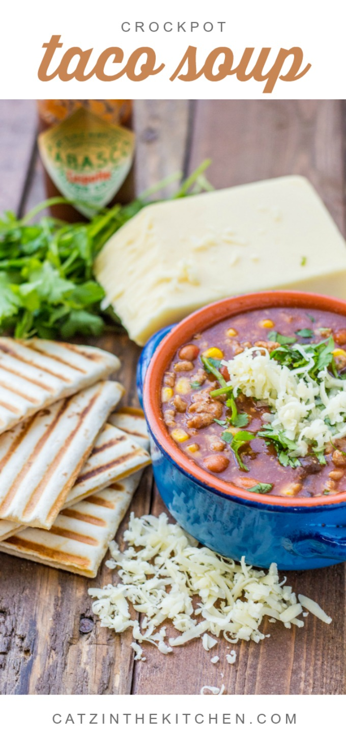 This crockpot taco soup is easy, tasty, and works equally well in fall as well as summer - pair it with some simple quesadillas and you've got a full meal!