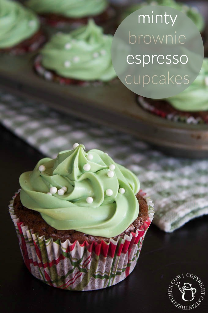 The green frosting is for St. Patrick's Day. The brownies and espresso are for blowing your mind. This recipe for minty espresso brownie cupcakes might just be the best thing about March!