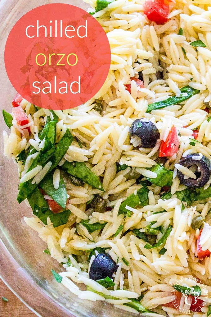 Chilled Orzo Salad - simple, fresh ingredients like tomatoes, olives, and spinach thrown together with pasta and Italian dressing - a scrumptious side dish!