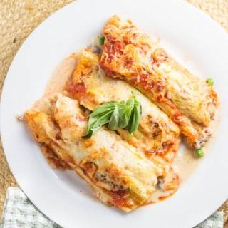 Sausage & Pea Manicotti