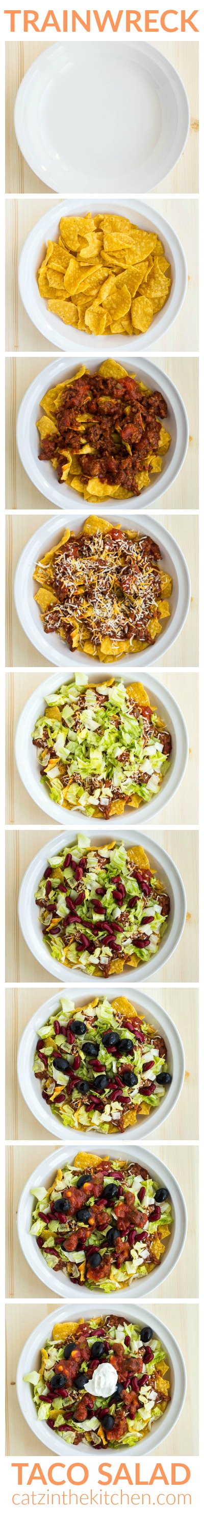 Trainwreck Taco Salad | Catz in the Kitchen | catzinthekitchen.com | #trainwreck #salad #taco #recipe