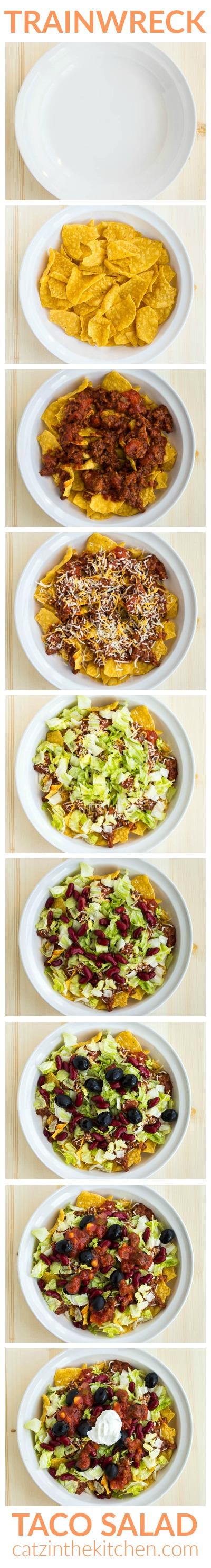 Trainwreck Taco Salad | Catz in the Kitchen | catzinthekitchen.com | #trainwreck #salad #taco #recipe