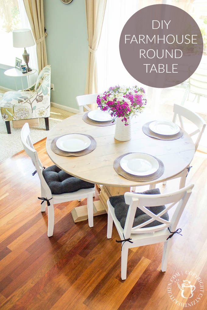 A simple project that looks simultaneously rustic & refined upon completion, this DIY Farmhouse Round Table is the perfect way to open up your dining space!