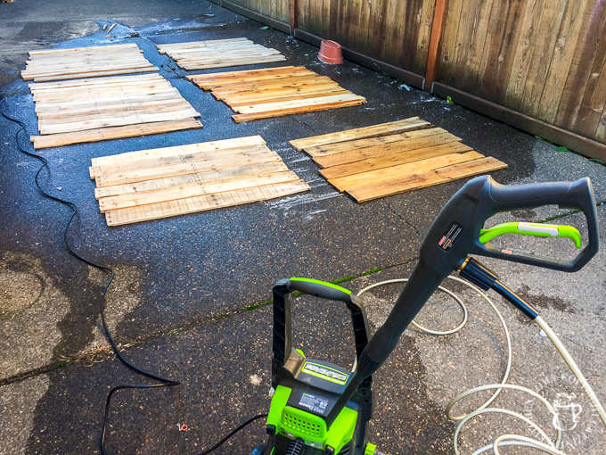 Pressure washing pallets