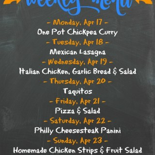 Weekly Menu for the Week of April 17th