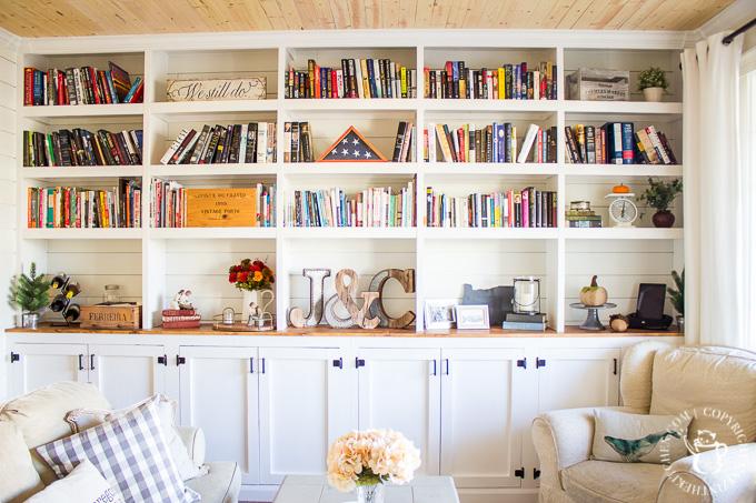 DIY floor-to-ceiling bookshelf