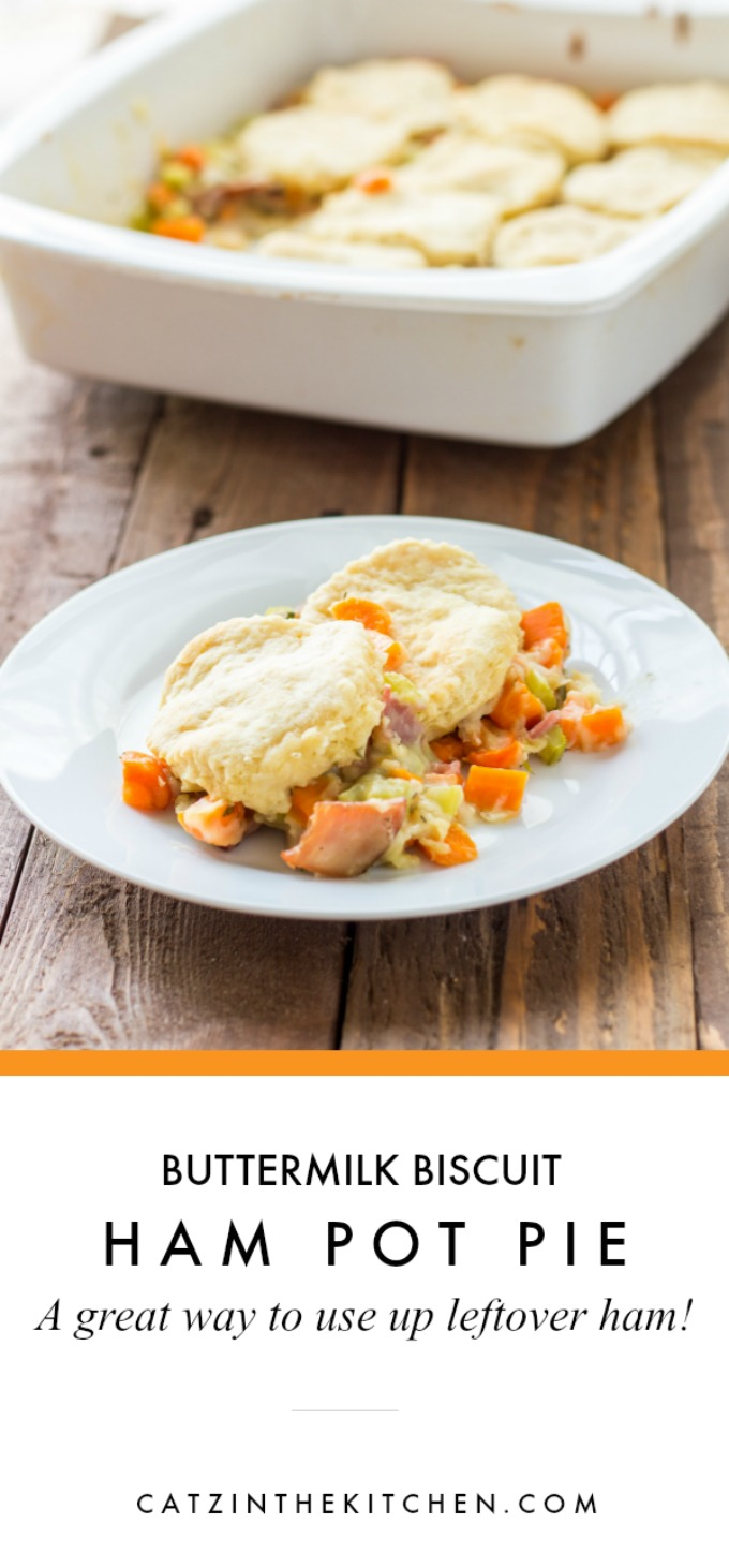 Have some leftover holiday ham in the fridge? This buttermilk biscuit ham pot pie is a great way to use it up - besides being warm, homey, & tasty, too!
