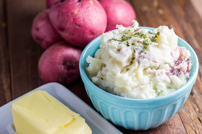 These rustic mashed potatoes are super easy to put together, but have a creaminess and richness to them that makes them surprisingly craveable for such a staple side dish!
