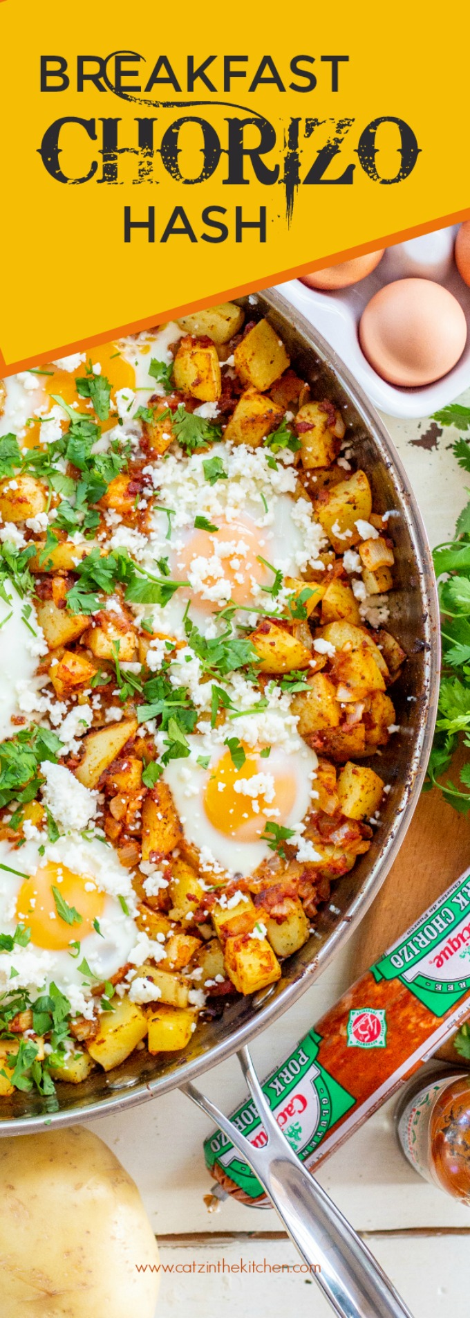 Brunch must be the best meal of the day, right? It certainly will be if you serve this yummy breakfast chorizo hash! Not a chorizo fan? Sub in some sausage!