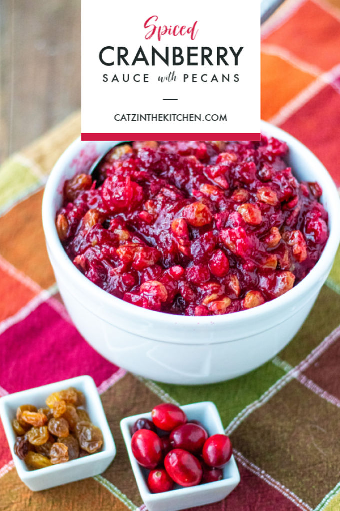 Forget the canned stuff and whip up a flavorful, homemade spiced cranberry sauce with pecans and raisins this Thanksgiving - in about 15 minutes!