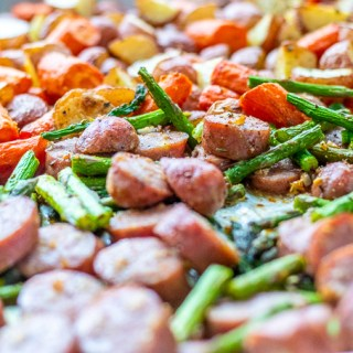 One Pan Chicken Sausage with Roasted Asparagus and Potatoes