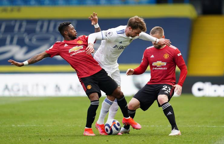 Fred and Luke Shaw defend for Man United
