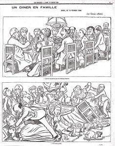 Célèbre caricature de Caran d'Ache parue en 1898 pendentif l'Affaire Dreyfus.