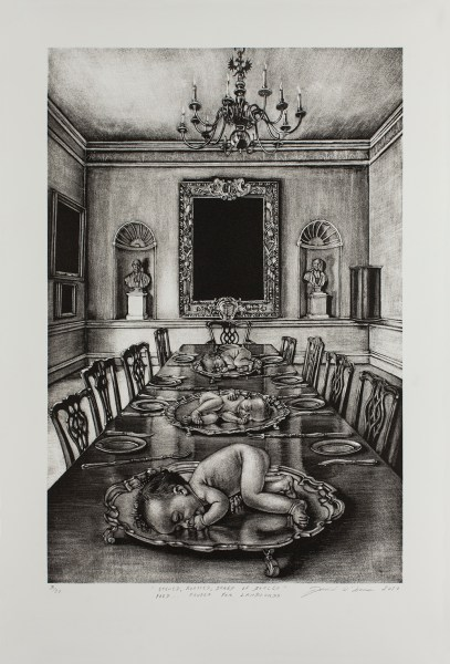 Cavanacor Gallery 2017  mani    re noire lithograph  motif size 45 x 30  paper size 56 x 38 cm   edition 3 of 10  From the series  A Modest Proposal   Inspired by Jonathan  Swift