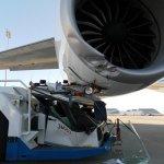 Imagens do motor do 747-8F danificado na colisão em Victorville
