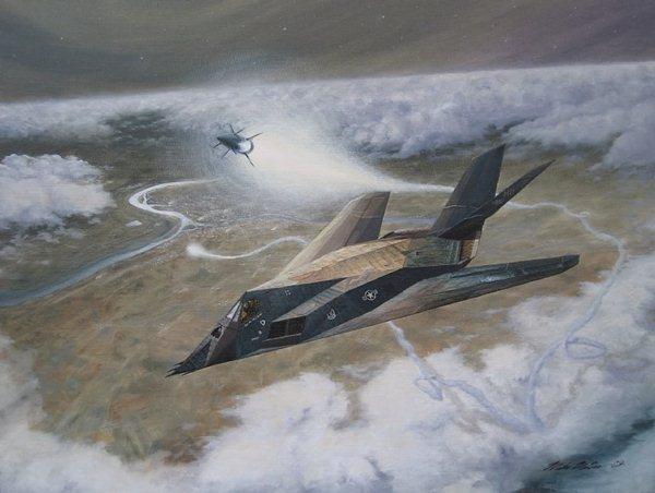 Pintura que retrata momento que um míssil SA3 era disparado contra o F-117 do Coronel Dale Zelko. (Imagem: CAVOK)