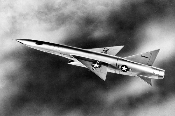 Republic XF-103 em voo. (Concepção artística: U.S. Air Force photo)