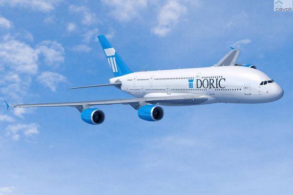 Concepção artística de um Airbus A380-800 nas cores da Doric. (Foto: Fixion / Airbus)