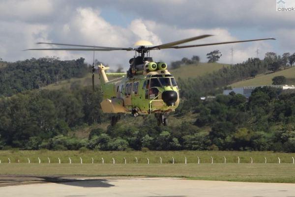 O helicóptero EC725 de número 9, que será destinado ao Exército Brasileiro. (Foto: Helibras)