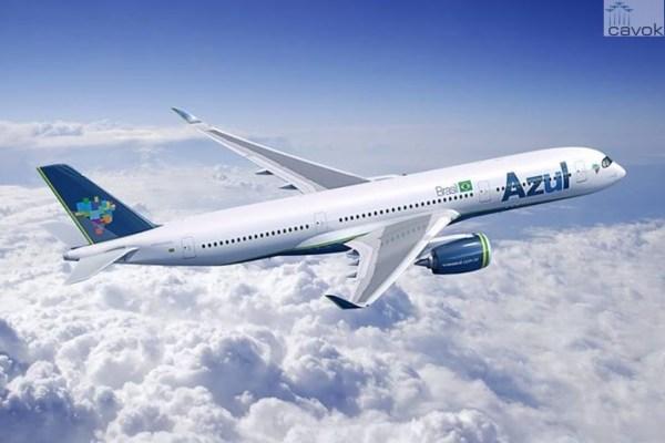 Concepção artística do Airbus A350-900 nas cores da companhia aérea Azul. (Foto: Fixion / Airbus)