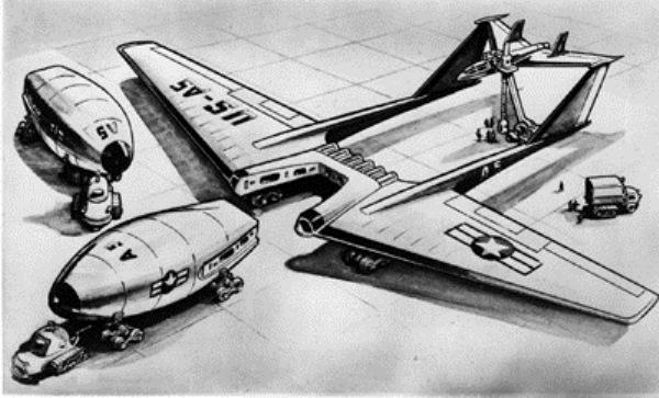 Uma idéia para uma aeronave de propulsão nuclear totalmente operacional envolvia o uso de módulos de reatores destacáveis que poderia ser substituído quando necessário. Nesta concepção artistica, os pilotos ficavam na parte da seção da cauda, aonde numa emergência, poderia ser descartada.