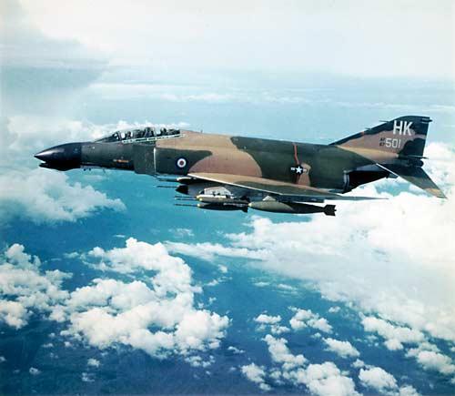 A Phantom F-4D in flight over Vietnam in 1971