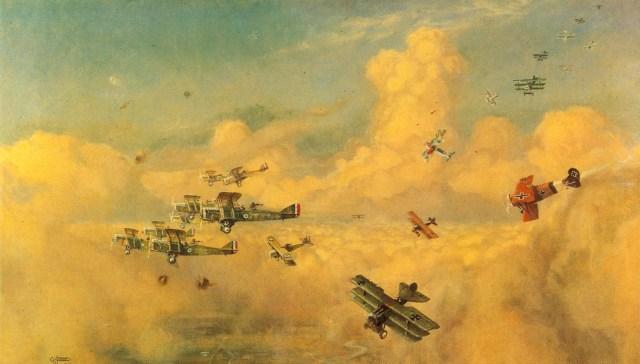 A Guerra no Ar, uma pintura de 1919, de autoria do pintor britânico G. H. Davis, retratando um grupo de caças alemães atacando uma esquadrilha britânica que voa em formação cerrada.