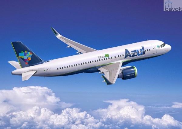 Concepção artística do novo Airbus A320neo nas cores da Azul. (Foto: Fixion / Airbus)