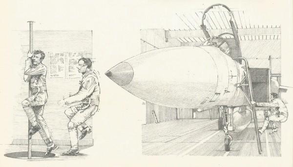Para que a saída pudesse ser rápida, os pilotos e os chefes de equipe de solo desciam por mastros semelhantes aos usados por bombeiros. No hangar, o piloto logo ligava o motor direito, que alimentava os sistemas do avião.