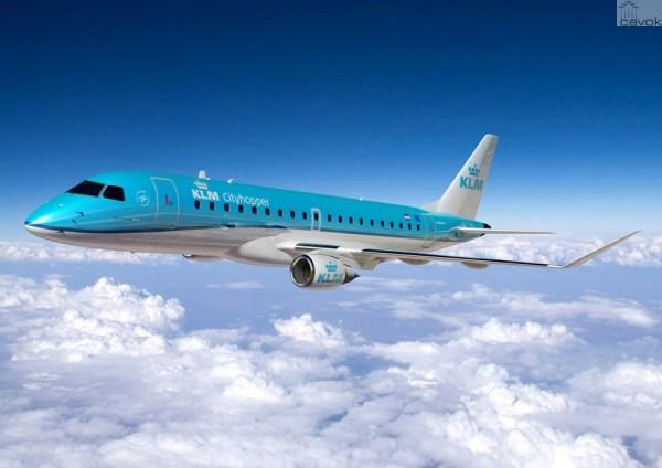 Jato E175 nas cores da KLM Cityhopper. (Foto: Embraer)